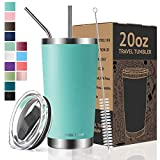 Umite Chef 20oz Tumbler Double Wall Stainless Steel Vacuum Insulated Travel Mug with Lid, Insulated Coffee Cup, 2 Straws, for Home, Outdoor, Office, School, Ice Drink, Hot Beverage (20oz, Mint Green)