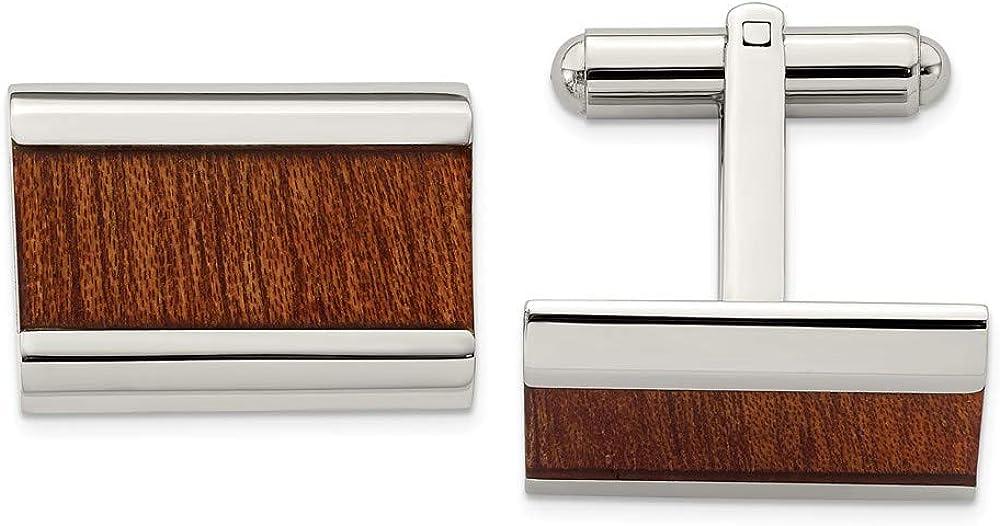 Solid Stainless Steel Men's Light Brown Wood Inlay Enameled Cufflinks