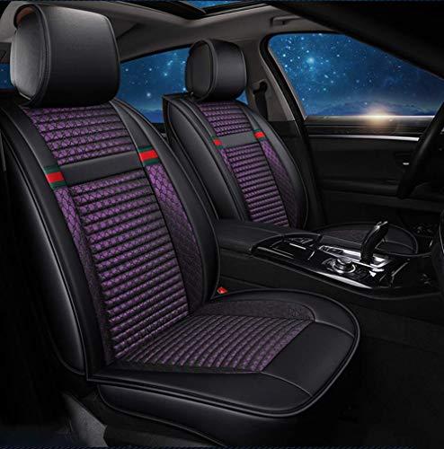 Preisvergleich Produktbild WSJ Autositzbezug Leinenleder Four Seasons Pad-kompatibler Airbag-Sitzschutz Sitz vorn und hinten 5-Sitzer Komplettset mit Universal-Autositzbezug für die Jahreszeiten,  Lila