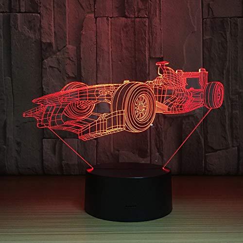 Coche de carreras de F1 LED Luz de Noche USB Lámpara de Mesa Lámpara Lectura Recargable Luz Nocturna Infantil LED Vistoso LED Luz de Nocturna RGB Portátil Lámpara de Tabla Para Niños Habitació