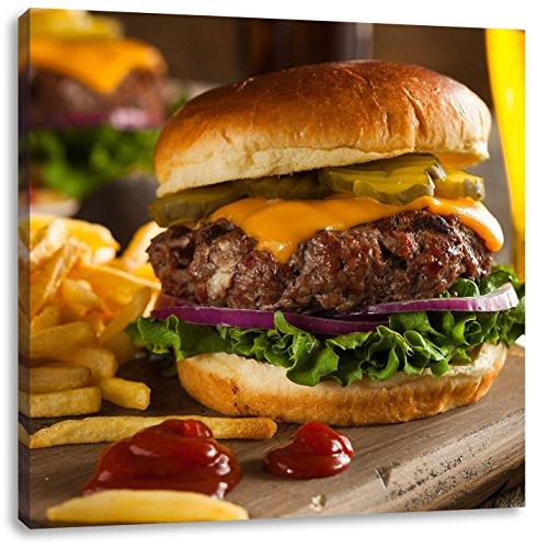Juicy chili cheeseburgerCanvas Foto Plein | Maat: 60x60 cm | Wanddecoraties | Kunstdruk | Volledig gemonteerd