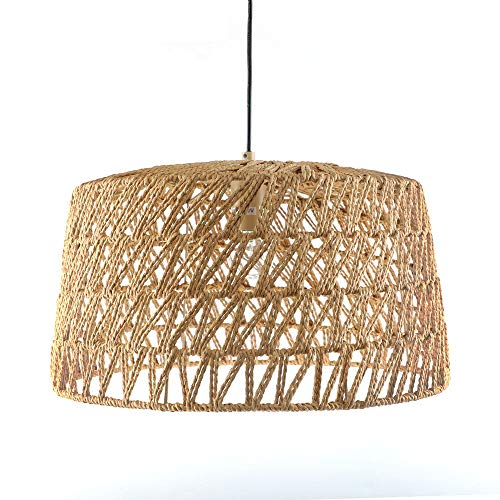 Rope Pendant Lamp - Hand Woven Linear Chandelier, Basket Light Fixture, 18'W x 18'D x 11'H, with Cord 65 inches