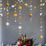 Decor365 Gold Silver Star and Circle Dot Garland Decorations Metallic Glitter Circle Garlands Streamer Backdrop Glittery Hanging Bunting Banner Decorations for Kids Birthday Party Baby Shower Wedding