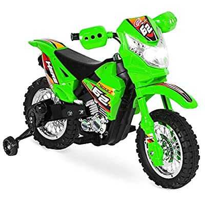 Best Choice Products Kids 6V Ride On Motorcycle w/ Treaded Tires, Working Headlights, 2mph Top Speed, Training Wheels, Realistic Sounds, Music, Battery Charger - Green