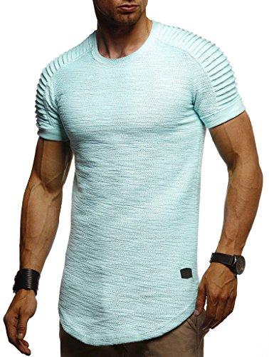 Leif Nelson Herren Sommer T-Shirt Rundhals-Ausschnitt Slim Fit Baumwolle-Anteil Moderner Männer T-Shirt Crew Neck Hoodie-Sweatshirt Kurzarm lang LN6325 Mint XX-Large