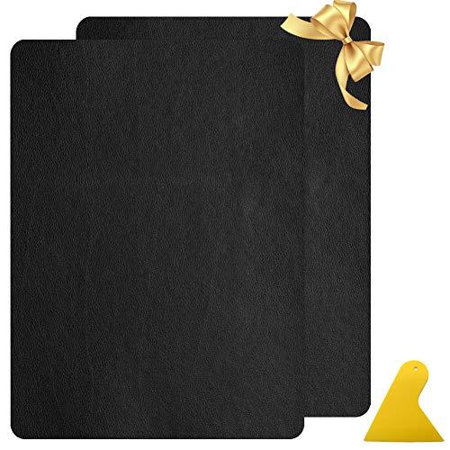 Panngu Selbstklebende Lederflicken Set Schwarz, Gute Qualität Selbstklebender Leder Reparatur Patch, Leder Flicken Patch Kit Für Autositze Jacke Sofa Couch Rucksack (2er 28x20cm)