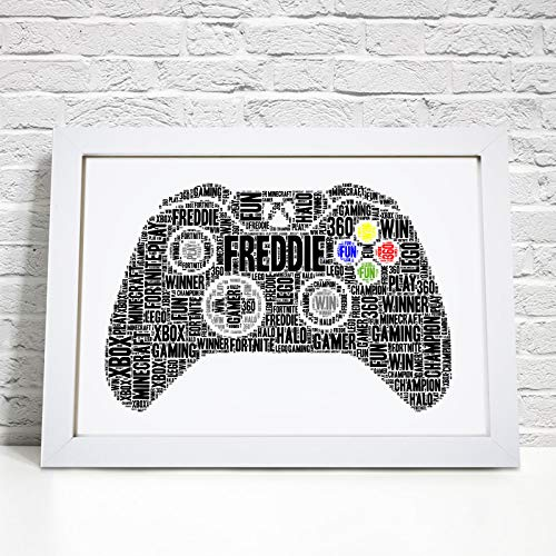 Personalised Xbox Controller Gaming Word Art Print - A5, A4 Prints & Framed