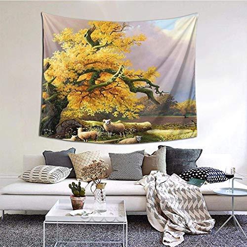 Tapiz de pared ancha con diseño de calavera fresca para colgar en la pared, para dormitorio, sala de estar, 152 x 51 cm, árbol de ovejas
