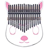 Kalimba Thumb Piano 17 Keys Pre-tuned C Acrylic Crystal Finger Piano Engraved Note Portable Music Instrument Mbira with Tune Hammer Study Instruction Christmas Gift for Kid Adult (Pink Deer Kalimba)