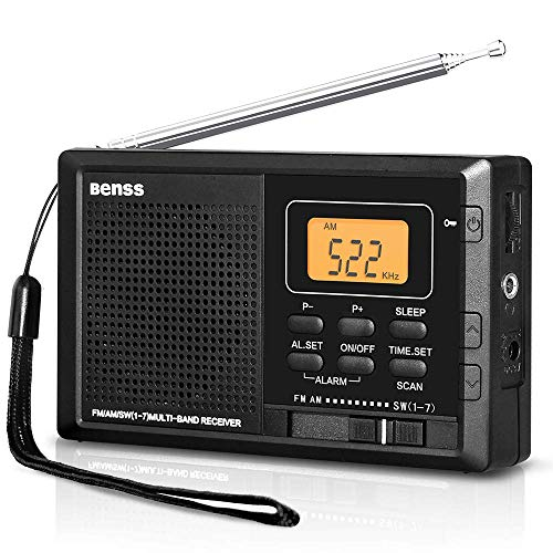 Tragbares Radio Taschenradio Klein AM FM Digitales Radio Pocket Transistor Stereo Radio mit Eingebauten Lautsprechern Digital Wecker und Sleep Timer, Batteriebetrieben