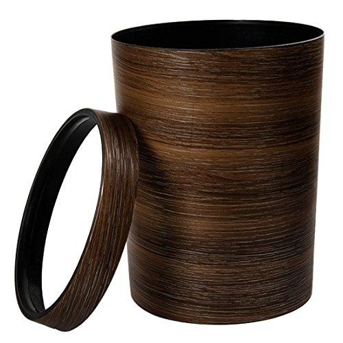 OIURV 10L Retro Stil Mülleimer Papierkörbe Mimetisches Holz Kunststoff ohne Deckel Abfalleimer für Büro Badezimmer Schlafzimmer küche Braun