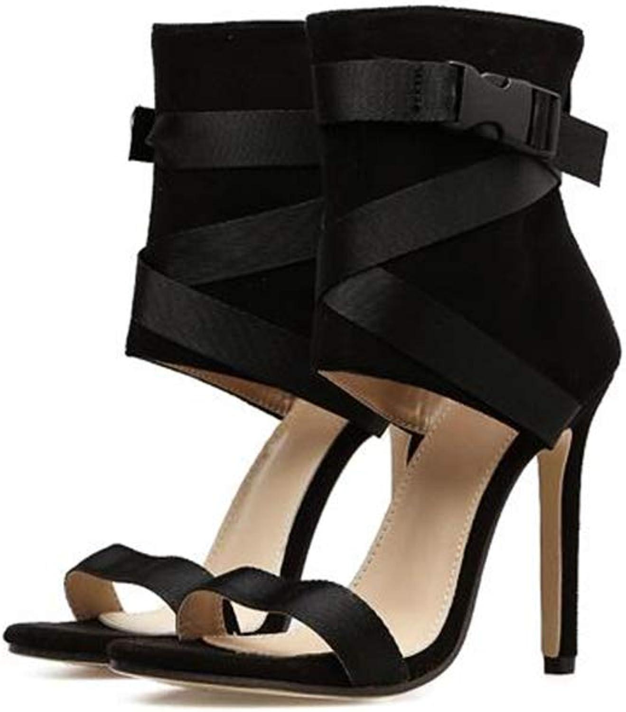 FLourishing Women's Punk High-top Stiletto Hollow Roman High Heeled Buckle Sandals