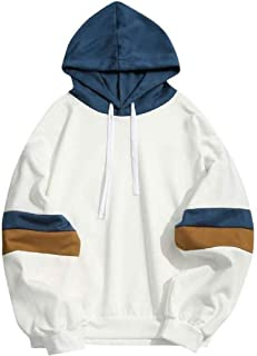 Loyomobak Mens Stitching Loose Pullover Long Sleeve Fitness Outdoor Hooded Sweatshirt