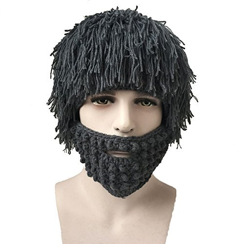 4e2abf33f79 Creative Original Barbarian Knit Beard Hat Wig Beanie Hat Funny Knit Hat  Beard Facemask