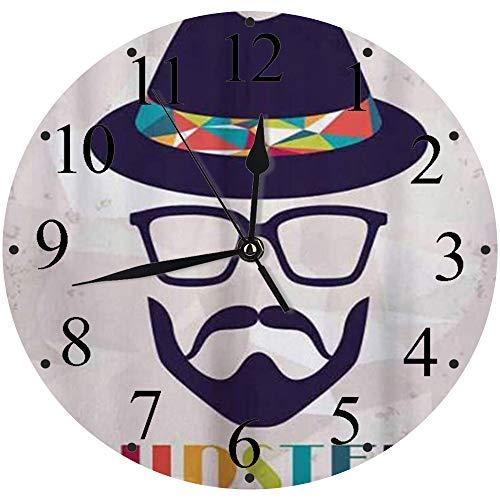 LUHUN Reloj de Pared Moderno,Hombre Abstracto Inconformista en un Retrato de Sombrero con Gafas Bigote y Barba en Grungereloj de Cuarzo de Cuarzo Redondo No-Ticking para Sala de Estar 30 cm