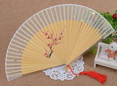 Japanese Design Silk Handheld Folding Fan,White With Hand Paint Plum Blossom HF25