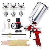 Pistola de pulverización del regulador de aire 1.4mm 1.7mm 2.5mm Boquilla Alimentación por gravedad HVLP Pistola de pintura Pulverizador 1000CC Copa para auto retoque Imprimación de pintura