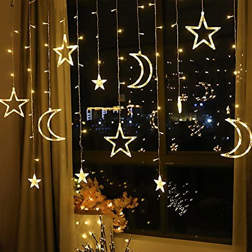 LED Lichterkettenvorhang Innen, Curtain Lights, Ramadan Dekoration 3,5 m, Star Moon Lichtervorhang, Girlande/dekorative Lichter für Hochzeit, Haus, Garten, Weihnachten, Fenstervorhang Dekoration