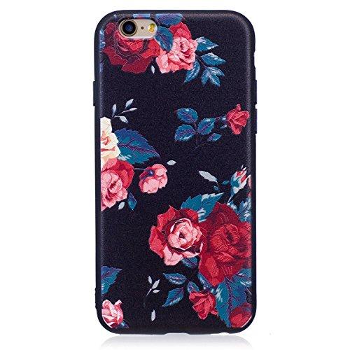 ISAKEN Compatibile con iPhone 6S /iPhone 6 Custodia (No Strap) - Ultra Sottile Morbido TPU Cover Protezione Posteriore Case Antiurto Nero Bumper Caso Soft Sollievo TPU Backcover, Floral