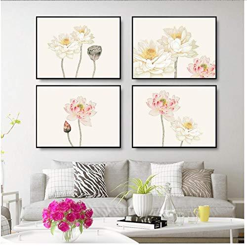 MULMF Hoofddecoratie print canvas muurkunst afbeelding poster schilderij horizontale Chinese elegante lotusbloem voor slaapkamer - 50 x 70 cm x 4 geen lijst