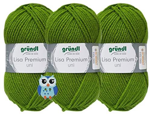 3x50 Gramm Gründl Lisa Premium Uni aus 100% Polyacryl Häkelgarn Schulgarn + 1 Eulen Knopf (33 Grün)
