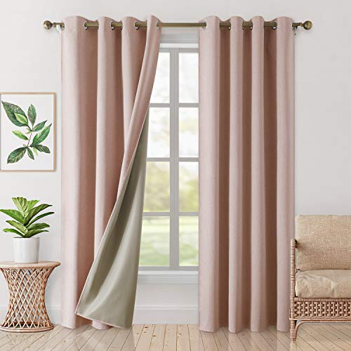 HOMEIDEAS 100% Blackout Curtains 2 Panels Faux Linen Curtains Blush Pink Room Darkening Curtains 52 X 96 Inches Thermal Insulated Grommet Window Curtains/Drapes with Liner for Living Room/Bedroom