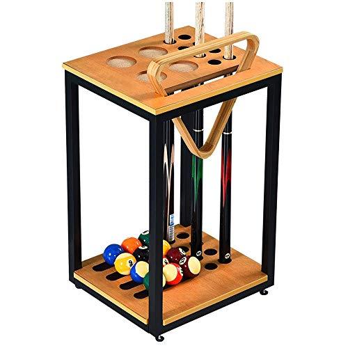 Soporte de palo de billar - Solo soporte de taco de piscina, admite 8 tacos, soporte de taco de bola, marco de varilla de hierro + panel de madera maciza, para billar Snooker Accesorio 40.5x36x64cm