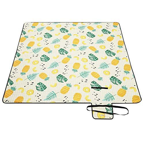 SONGMICS Picknickdecke, 200 x 200 cm große Stranddecke, Campingdecke, wasserdichte Unterseite, maschinenwaschbar, faltbar, für Garten, Park, Strand, Camping, Ananas-Muster GCM087Y01