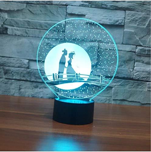 Bridge 3D Led Night Light Lámparas de mesa de escritorio Lámpara de ilusión óptica 3D Lámpara visual 7 colores Lámpara de escritorio de mesa táctil para vacaciones