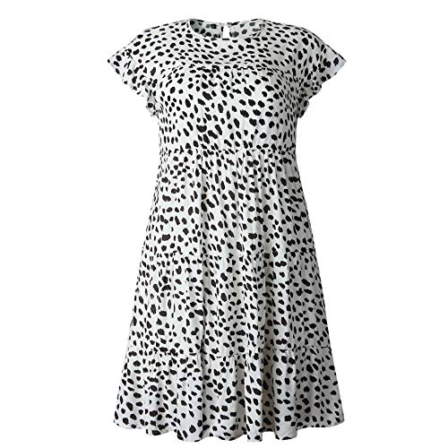 Valin VLQC014 - Vestido de manga corta y cuello redondo para mujer, diseño de leopardo Lqb1004 leopardo. 42