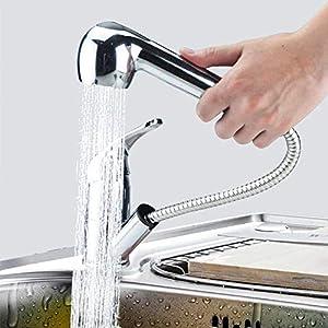 Grifo Cocina kisimixer Grifo Fregadero 360 ° Con Spray Extensible, 2 Modos de Spray, Grifo Mezclador Agua Fría y…