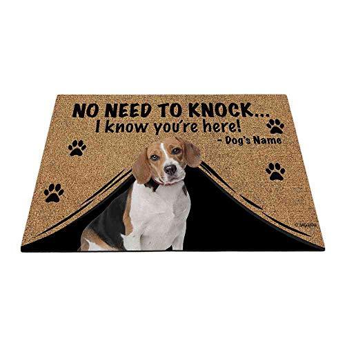 "BAGEYOU Felpudo personalizado con nombre de perro para exteriores con My Love Dog Beagle Welcome Floor Mat Not Need to Knock I Know You're Here 27.5"" x 17.7"""