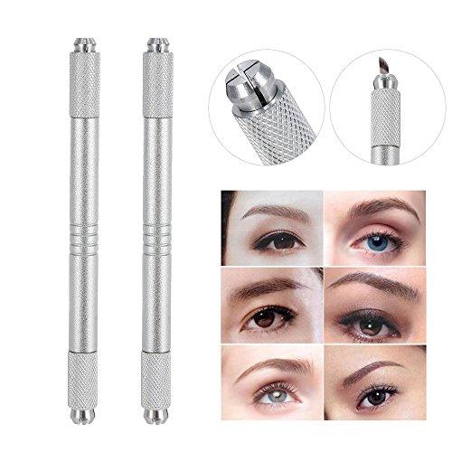 Anself Augenbraue Tattoo Stifte Dual-Kopf Microblading Stift Permanent Make-up Maschine Tattoo Kit (Silber x2)