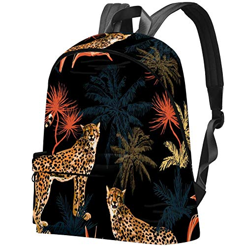 Schwarzer afrikanischer Leoparden-Laptoprucksack Reiserucksack für Damen, Kinder und Herren