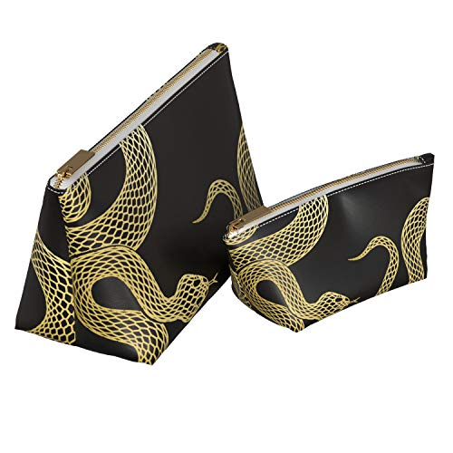 Mertak 2 Pieces Makeup Bag Set PU Leather Toiletry Abstract Cosmetic Bathroom Minimal Zipper Luxury Black Storage Gift Accessories Travel Girl Women Case Pouch Viper Snake Organizer Gold
