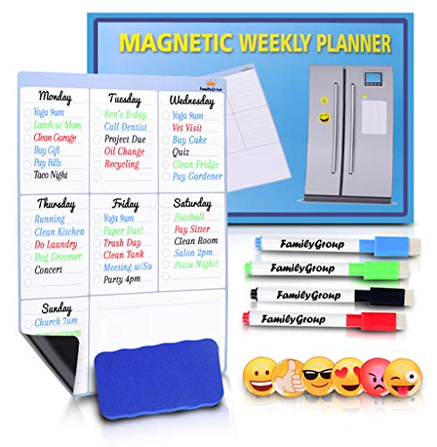 Dry Erase Weekly Calendar for Refrigerator, Weekly Dry Erase Board, Magnetic Weekly Planner - Chore Chart for Kids, Weekly Family Meal Planner, Fridge Notepad with 4 Markers and 6 Emoji Magnets