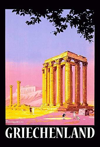 NWFS - Cartel de chapa metálica con diseño de columna de Grecia (20 x 30 cm)