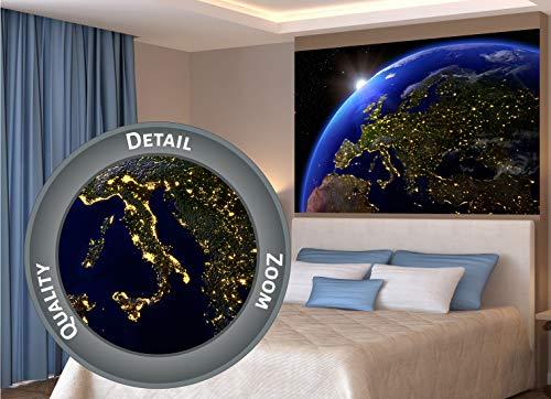 GREAT ART XXL Poster – Europa bei Nacht – Ausblick aus dem Weltall Space Universum Welt All Artwork Wandbild Planeten Deko Wanddekoration - Wandbild Kontinent Motiv (140 x 100 cm)