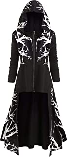 WhiteTe Fancy Dress Costumes Root Pattern Long Sleeve Zipper Hooded Robe Autumn Gown Cloak Topcoat Plus Size