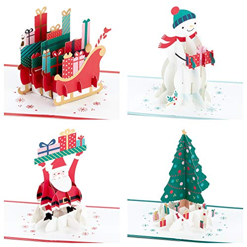 Hallmark Signature Paper Wonder Pop Up Christmas Cards Assortment (4 Holiday Cards with Envelopes)