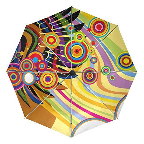 XiangHeFu paraplu kleurrijke vleugels gitaar muziek kunst auto openen sluiten 3 vouwen licht anti-UV