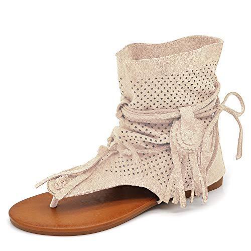 IF Fashion Scarpe da Donna Sandali Indianini Infradito Etnico Frange Pelle Sintetica GLY-103 Beige N.38