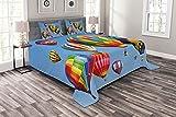 ABAKUHAUS Bunt Tagesdecke Set, Farbige Heißluft-Ballone, Set mit Kissenbezügen Mit Digitaldruck, 220 x 220 cm, Azurblau & Multicolor