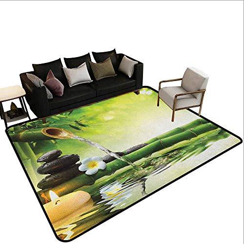 MsShe groot tapijt spa, overdekt zwembad met ontspannende lange stoelen kalmerende afbeelding print, turkoois lichtblauw en wit