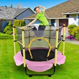 huangjiaxinss 5FT Kids Trampoline,Trampoline Safety Enclosure Net Combo Bounce Jump for Kids,Outdoor Recreational Trampoline for Kids and Family,Birthday Gifts for Kids,Max Load 100 lbs