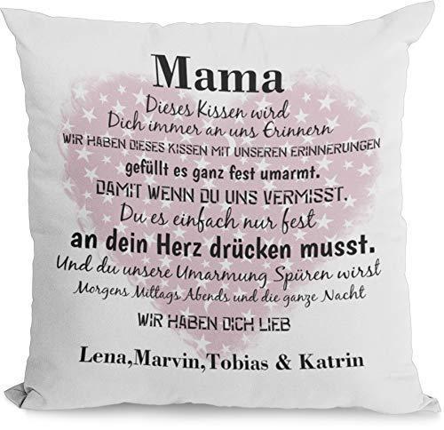 Kissen Mama geschenk mit Namen erinnerung Individuell personalisiert einzahl mehrzahl kindernamen dekokissen