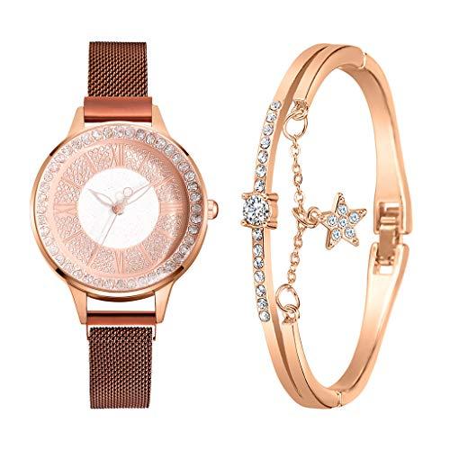 Damen Mode Business Armbanduhr, Einfaches Armband Analog Quarz Damenuhr Frauen Uhr Mit Kleinen Feinen Armbändern für Geburtstag Hochzeit Valentinstag