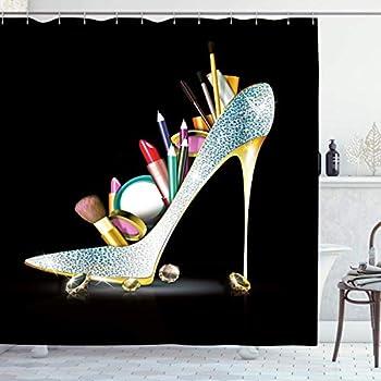 AMBZEK High Heel Shower Curtain Fancy Diamond Galm Girly for Women Sexy Lady Bling Fashion Shoe Cosmetic Woman Artwork Cloth Fabric Bathroom Decor Set with 12 Pack Hooks 60x71 Inch,Silver Black