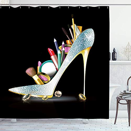 Ambsunny High Heel Duschvorhang Girly Fashion Sexy Lady Schuh mit Diamant Kosmetik Frau Feminine Kunst Stoff Badezimmer Dekor Set mit 12 Haken 152,4 x 180,9 cm, Schwarz Silber Grau
