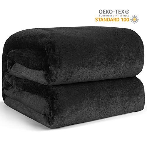 Hansleep Manta de Franela Reversible, 220x240 cm Mantas para Sofá Cama - Microfibra Cepillada Extra Suave Transpirable & Cálida, Negro